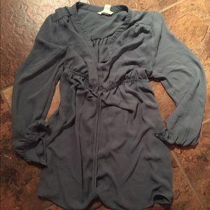 Maternity semi-sheer tunic top